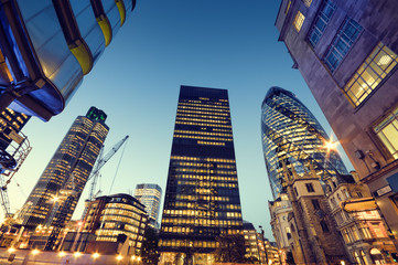 Zelfklevend Fotobehang London Skyscrapers in City of London,