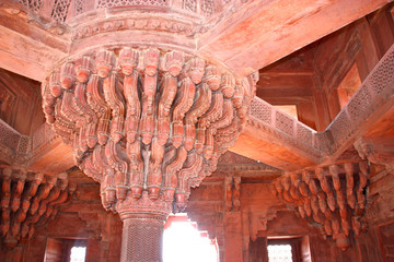 the ceiling of an old indian temple