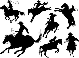 Canvas Prints Fairytale World Cowboys silhouettes