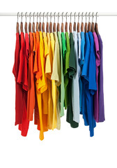 Colors of rainbow, shirts on wooden hangers