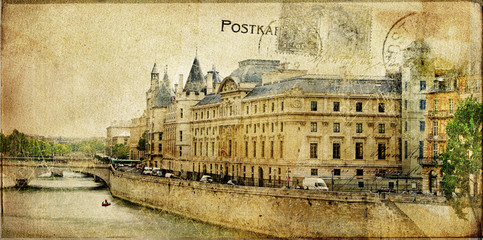 Wall Mural - Parisian vintage series cards