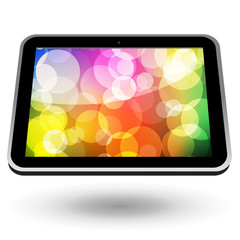 Touch tablet PC 5 (black, horizontal view, with wallpapper). Vec
