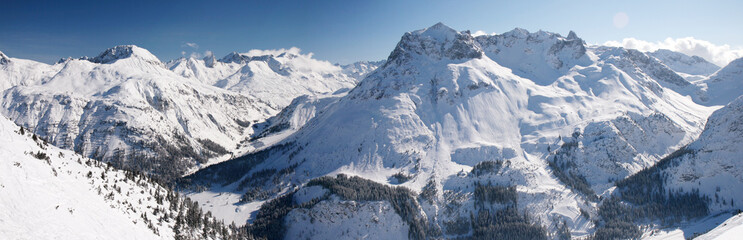 Wall Mural - Winter at Arlberg Mountains- Wide Panoramic View