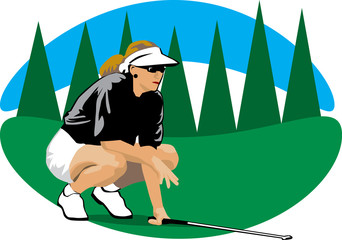 Woman in a golf course