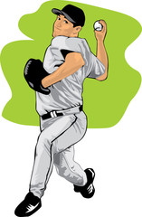 Colored illustration of a baseball pitcher