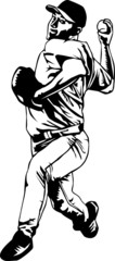 Black and white pitcher player