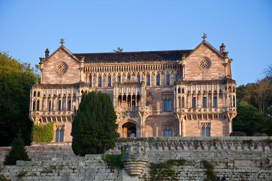 Palace of Sobrellano at sunset. Comillas, Santander, Spain