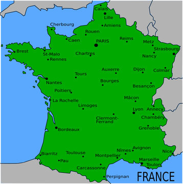 Carte des Villes Principales de France