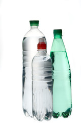 Group of mineral  soda water bottles