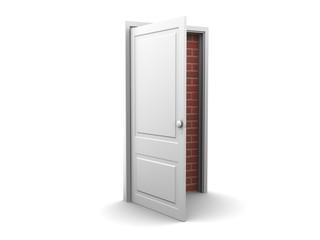 Opened door to bricked wall