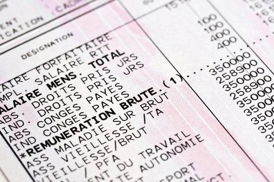 Bulletin de salaire français, fiche de paie, charges et cotisation sociales, réforme de la retraite