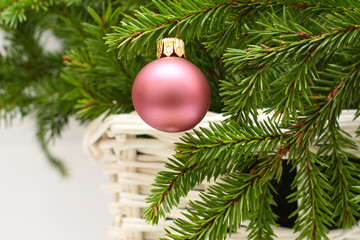 Christmas decoration with New Year ball and fir - Xmas backgroun