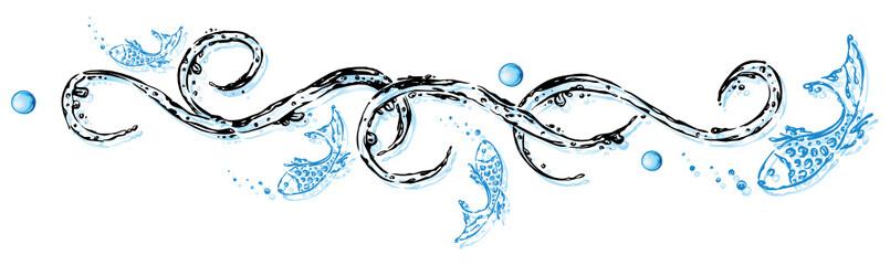 Wasser, Ranke, Fische, Wassertropfen, aqua, water