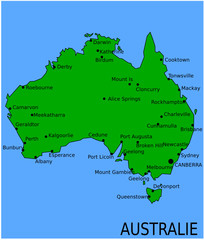 Carte des Villes Principales d'Australie