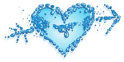 Wasser, Herz, Liebe, Fische, Wassertropfen, aqua, water