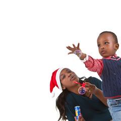 Happy black baby boy with mom