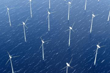 Windkrafträder im Wasser