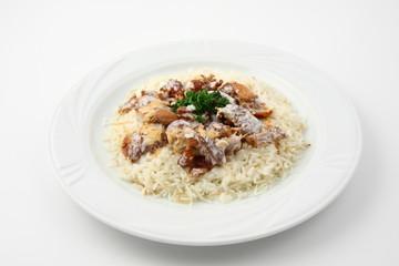 riso bianco con carne kebab