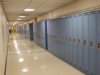 school lockers in corridor
