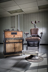 An old vintage, dentist chair