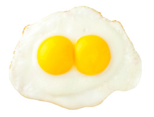 Fried eggs that look like funny face isolated on white backgroun