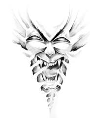 Wall Mural - Sketch of tattoo art, monster