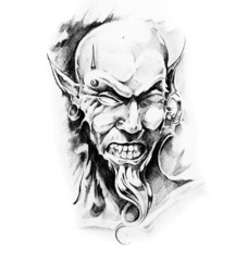 Wall Mural - Sketch of tatto art, devil