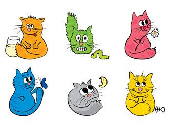 A set of funny cats