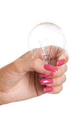 Hand holding light bulb isolated