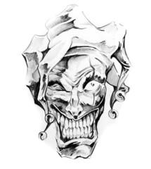 Wall Mural - Sketch of tattoo art, clown joker