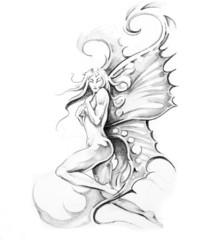 Wall Mural - Sketch of tattoo art, fairy