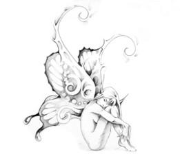 Fototapete - Sketch of tattoo art, fairy