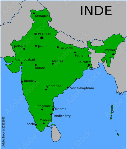 Carte Inde Principales Villes.Carte Des Villes Principales D Inde Fichier Vectoriel Libre