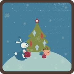Retro stylized christmas greeting card