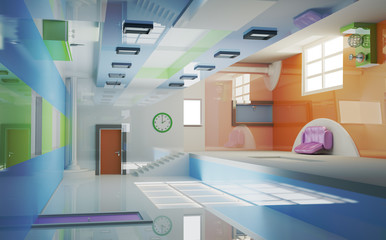 Futuristic interior . Multigravitation. My own design