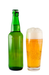 Beer, bottle, glass, isolated white background clipping path.