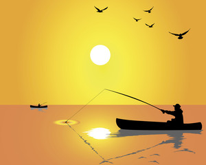 Silhouettes of fishermen from a boat
