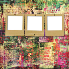 Deurstickers Kranten Paper slides with old torn posters on the grunge abstract backgr