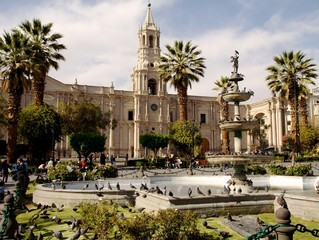 Plaza de armas and cathedral in Arequipa