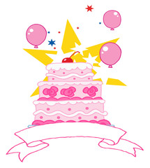 Pink Three Tiered Wedding Cake With Balloons, Stars And Banner
