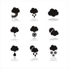 set of 9 black weather icons