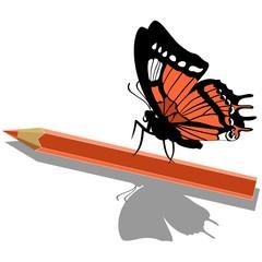 Butterfly on pen 14