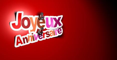 joyeux anniversaire fond rouge, texte en français