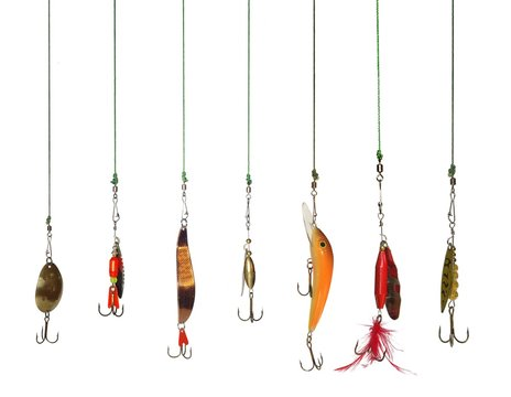 seven artificial angling baits