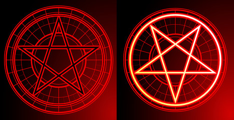 Two Pentagrams on dark background