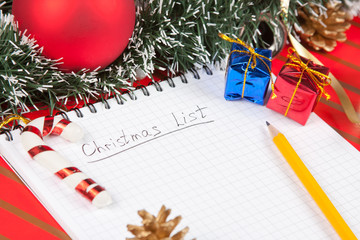 Christmas list and decoration