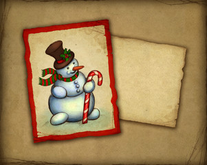 Christmas greeting card with illustration of snowman