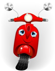 Poster Motorcycle Scooter Cartoon Baby-Vector