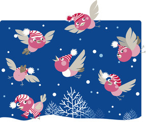 Wall Murals Birds, bees Funny winter birds