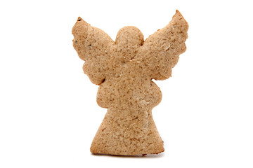 angel shaped gingerbread isolated on white